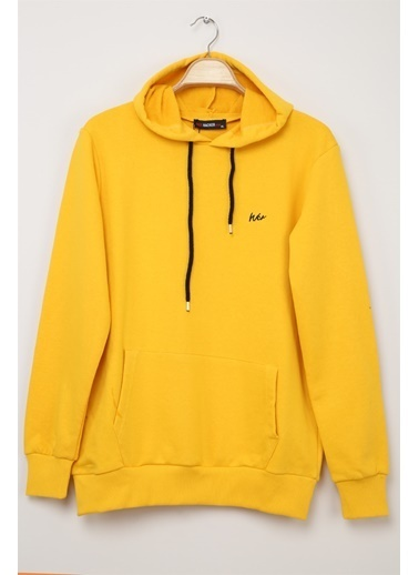 Z Giyim Kapşonlu Pamuklu Basic Sweatshirt Sarı